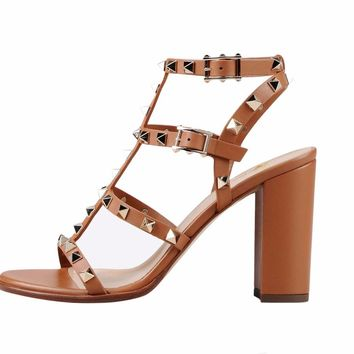2018 New fashion double Buckle-strap Women's Sandals shoes Summer rivets Block Heel Sandals Gladiator Studded Pumps Big Size15
