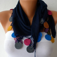 ON SALE - Navy Blue  Scarf Pashmina Scarf - Cowl Scarves with Lace Leather Edge Womens Fashion