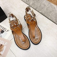 Round Toe Studded Buckle Ankle Strap Thong Sandals Shoes