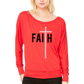 Faith in Him WOMEN'S FLOWY LONG SLEEVE OFF SHOULDER TEE