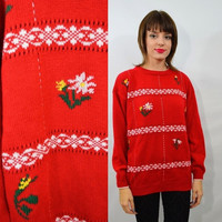 90s Daisy Sweater Med Large Vintage Soft Grunge Boho Floral Red Open Knit Bright Cute Girly 1990s Clothing Jumper White Yellow Oversize