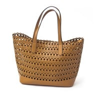 Sophie Laser Cut Tote Handbag In Cognac Brown