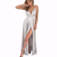 Glossy Long Satin Women Backless Party Dress