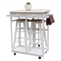 FCH Foldable Table with Wooden Handle Semicircle Breakfast Bar Cart with Round Stools Kitchen Cart with Storage White - US Stock