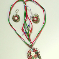 Lee Sands Vintage Earrings - Red Shell Inlay Pendant on Silk Cords