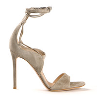 GIANVITO ROSSI GREY SUEDE LACE UP SANDALS