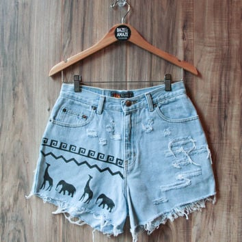 Elephant Giraffe Denim Shorts Vintage High Waisted Ripped Distressed Tribal Aztec Elephant Giraffe Safari Hand Painted