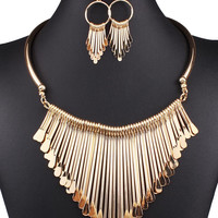 Golden Droplet Bar Tassel Chain Necklace And Earrings Set