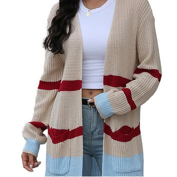 New hot sale long color-block knitted cardigan jacket
