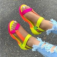 Summer new style gradient color flat bottom fashion fish mouth women's shoes