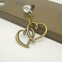 1PC Retro Hearts Cell Phone Earphone Stopper Antidust Plug Charm for iPhone 5c,5s, Samsung S3 S4, HTC, Nokia