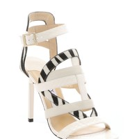 White Elaphe And Calf Hair Mixed Media Open Toe Sandals