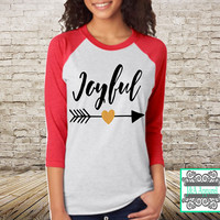 Joyful Shirt with Glitter Accent - Christmas Shirt - Unisex Raglan - Holiday top, Merry Christmas top, Happy Holidays Top