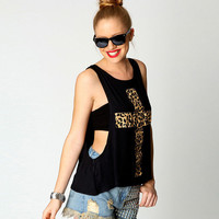 Leopard Print Cross Loose Tank With Fitted Tube Top