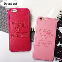 Retail PU leather Cartoon Panthera Case For iPhone 5s 5se 6 6s plus softpink pink panther Hard Shell covers For Iphone 7 7plus
