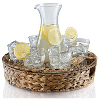 Garden Terrace Beverage Set w/ Tray, Glassware Sets w/ Decanters/Shakers/Pitchers