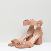 Steve Madden Indigo Buckle Strap Suede Block Heeled Sandals at asos.com