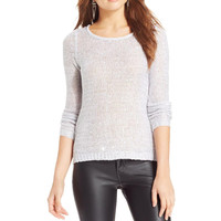 BCX Womens Knit Sequined Pullover Sweater