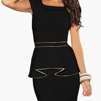 Black Cap Sleeve with Gold Lining Peplum Dress