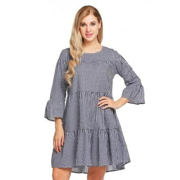 Flare Sleeve Plaid Loose Leisure Ruffles Hem Shift Dress