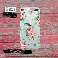 Rose Colored Peonies Flower Pattern Green Vine Cute Tumblr Case for Clear Transparent Rubber iPod Touch 5th Generation Case 5th Gen Cover
