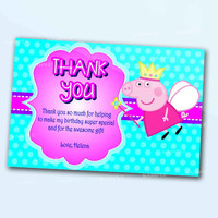Peppa Pig Pink Girl Thank You Card the beautiful personalized  card as a digital file