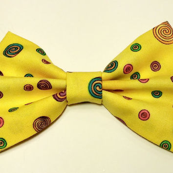 Yellow Swirl Bow • Yellow Hair Bow • Swirl Print Fabric Bow • Cotton Hair Bow • Vintage Fabric Bow • Gifts For Girls • Colorful Hair Clip