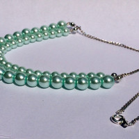 Double Strand Pearl Necklace, Green Pearl Necklace, Glass Pearl Necklace