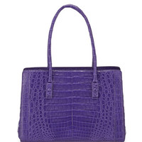 Nancy Gonzalez Crocodile Small Multi-Pocket Satchel Bag, Purple