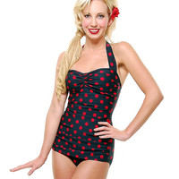 Esther Williams Vintage 1950s Style Black & Red Polka Dot Swimsuit