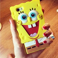High quality Cute 3D cartoon SpongeBob SquarePants model silicon soft back cover protective phone for iphone SE 5 5s 6 6s Case
