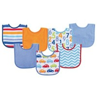 Luvable Friends Print Drooler Bib 7-Pack | Affordable Infant Clothing