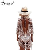 Simenual Backless cut out summer lace beach dresses ladies 2017 casual new hollow out sexy hot women dress white pareos swimwear