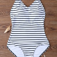 Sexy Stripe V neck Low Back One Piece Swimsuit Monkini