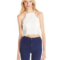 Lucca Couture Women's Cropped Eyelet Tank Top
