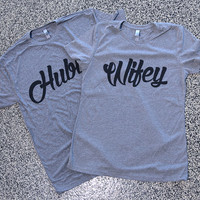 Hubby Wifey Wild Youth Couples Married Shirts Graphic Tees Wedding Present Husband Wife Bride Groom