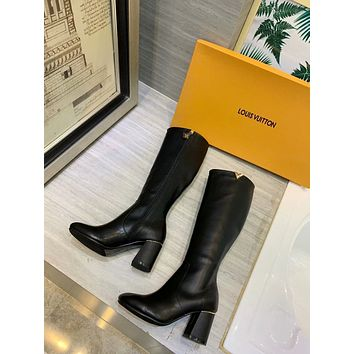 lv louis vuitton trending womens black leather side zip lace up ankle boots shoes high boots 233