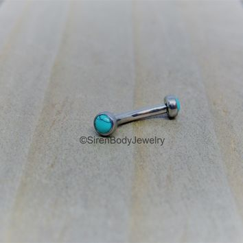 Turquoise rook piercing barbell 16g vertical labret curved bar titanium eyebrow ring 5/16""