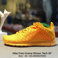 Nike Free Inneva Woven Tech SP Barefoot Hand-woven 2 Generation Comfortable Breathable Personalized  Men Gold Running Shoes - 705797-888