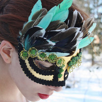 Masquerade Mask gold Masquerade ball mask feather mardi gras mask fairy mask gold venetian mask carnival mask green halloween mask  ENVY