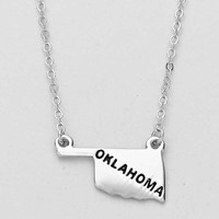 Oklahoma State Plated Pendant Necklace