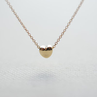Gold Heart Necklace, Tiny Heart Necklace, Dainty Gold Necklace, Small Heart Charm, Puffy Heart, Simple Everyday Jewelry by HeirloomEnvy