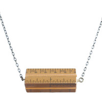 Wooden architects' scale hortizontal necklace