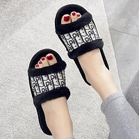 DIOR new style flat slippers womens home non-slip fashion open cotton slippers sandals Shoes Black
