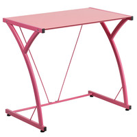 Flash Furniture Contemporary Tempered Pink Glass Computer Desk with Matching Frame [NAN-WK-SD-02-PINK-GG]
