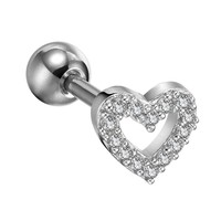 Tragus Earring Clear Crystal Hollow Heart 16G Piercing Jewelry