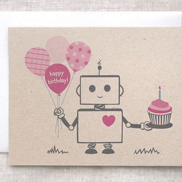 Birthday Card, Robot - Pink, Brown, Happy Birthday, Kawaii, Recycled
