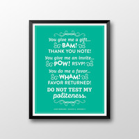 Andy Bernard Printable, Do Not Test My Politeness Printable, Dunder Mifflin Printable, The Office Printable, Instant Download
