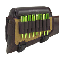 Tourbon Shooting Rifle Leather Canvas Cheek Rest Riser Pad With Ammo Cartridges Holder Carrier Hunting Gun Accessories