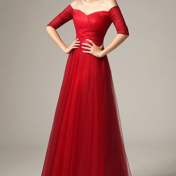 Lovely Draped Tulle Pleat Bodice Evening Ball Gown